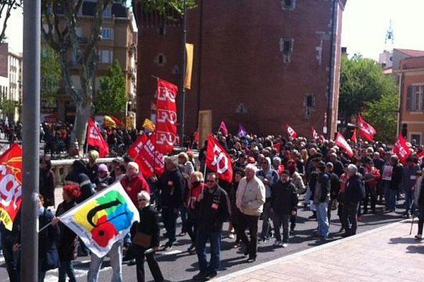 Les banderoles CGT et FO majoritaires, à Perpignan comme à Montpellier.