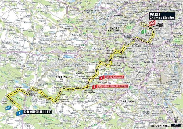Voici le trajet de la dernière étape du Tour de France.