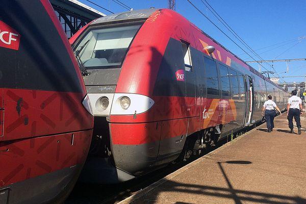 En gare de Cerbère dans les Pyrénées-Orientales, la police française contrôle la présence de migrants à bord des trains en provenance de l'Espagne.