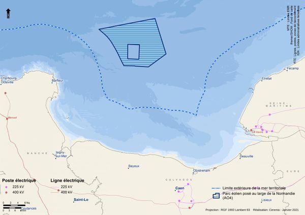 Une zone de 150 km² a été retenue pour accueillir le quatrième parc éolien normand.