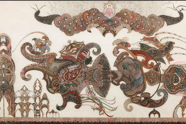 Encre de Chine sur papier, 91,5 x 186,5 cm. Collection A. G.