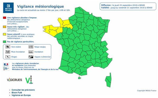Carte vigilance jaune vents - 20/09/2018 6h