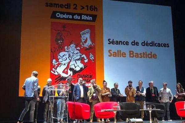 La rédaction de Charlie Hebdo n'était pas apparue en public depuis l'attentat du 7 janvier 2015.