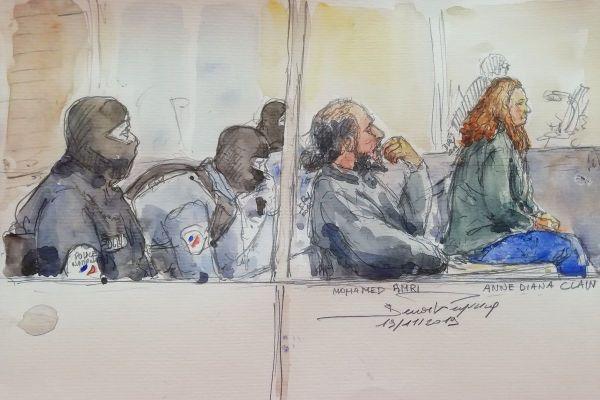 Anne Diana Clain sur le banc des accusés, lors de son procès en première instance, devant le tribunal correctionnel de Paris, en novembre 2019.