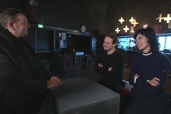 Morgane Colas et Nicolas Delahaye avec Jacques Perrotte au Cargö à Caen quelques heures avant le dernier concert des Concrete Knives.