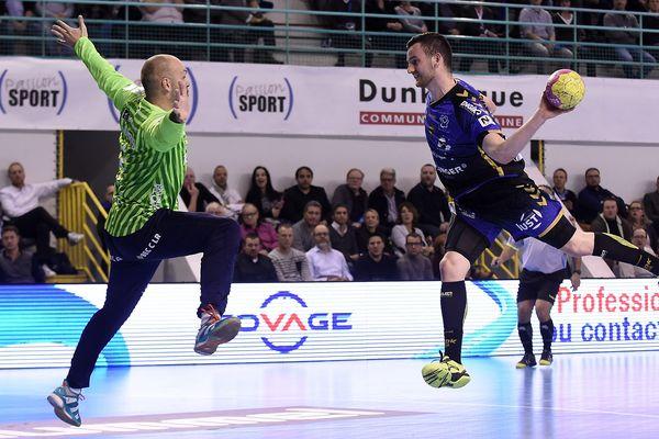 Florian Billant, ici lors d'un match face à Montpellier, a su réduire l'écart entre Dunkerque et le Paris SG