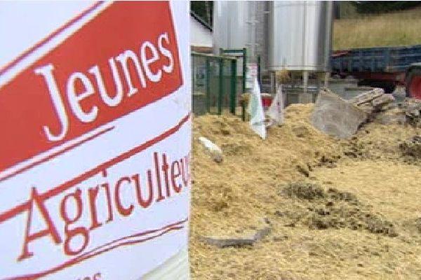 Les agriculteurs ont déversé de la paille, du fumier et des gravats devant la laiterie du Tholy.