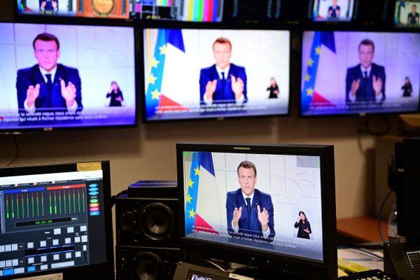 Le président de la République Emmanuel Macron, le 31 mars 2021pour une allocution très suivie par les médias.