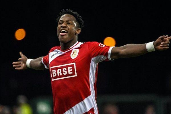 Michy Batshuayi après avoir marqué un but le 18 janvier dernier contre le KV Oostende à Liège.