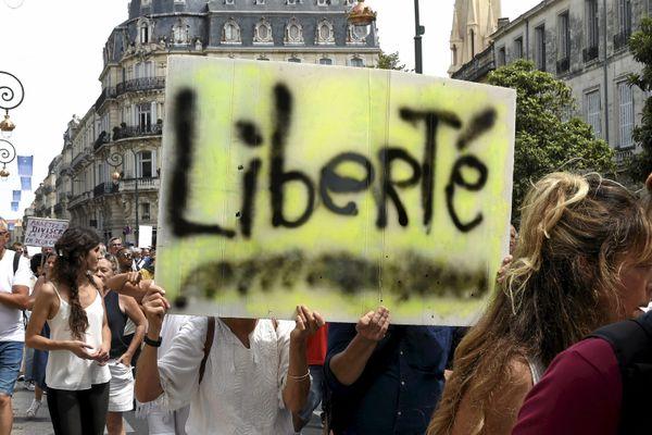 Une manifestation anti-pass sanitaire à Montpellier en juillet 2021