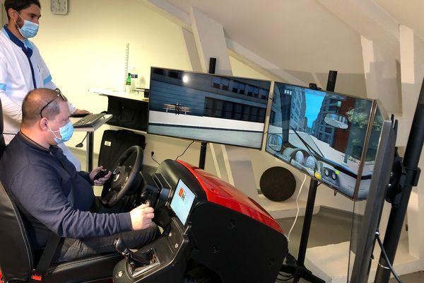Le simulateur de conduite de Plateau d'Hauteville (Ain).