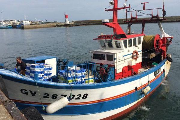 Un bateau de pêche à l'arrivée au port du Guilvinec (29)