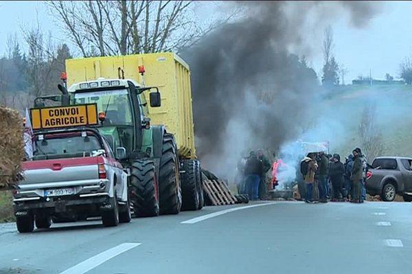 Une cinquantaine d'agriculteurs se sont installés avec leurs tracteurs sur la chaussée, à hauteur de Montastruc-la-Conseillère.