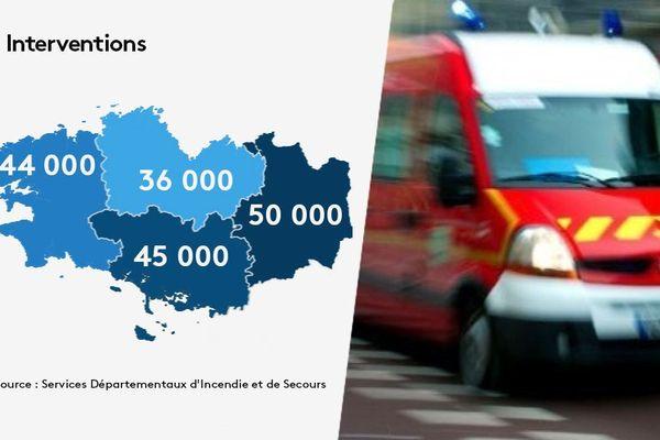 Près de 12 000 pompiers, volontaires et professionnels, pour couvrir les besoins des quatre départements bretons