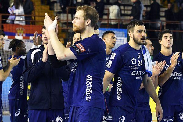 La joie des Montpelliérains après leur victoire à León, en Espagne, en match de barrage qualificatif pour les huitièmes de finale de la Ligue des champions - 24 février 2018