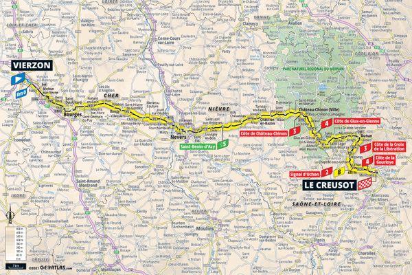 Le tracé de la septième étape entre Vierzon et Le Creusot.
