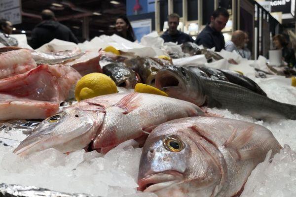 L'étal des poissons vendus à la criée sur le stand Bretagne au Salon International de l'Agriculture de Paris