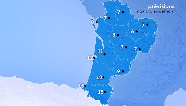 Demain après-midi, il fera 7 degrés à Poitiers et Périgueux, 6 à Limoges, 9 à La Rochelle, 11 à Bordeaux, 12 à Arcachon, 13 à Biarritz et Pau, 9 à Agen.