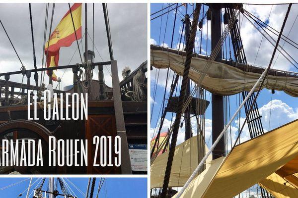 El Galeon, réplique d'un galion espagnol est présent à l'Armada 2019.