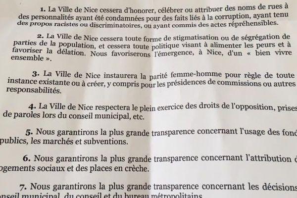 Viva Démocratie Ecologie Solidarité Charte pour une éthique municipales à Nice
