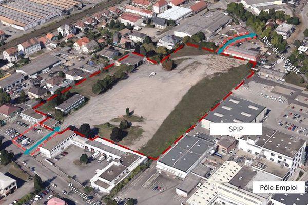 L'emplacement de la future SAS, entre la rue d'Agen et la rue de la Fecht