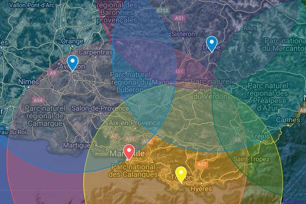 Déplacement après le confinement : quel est le rayon de 100 kilomètres autour de Marseille, Nice, Toulon, Avignon, Gap ou Digne-les-Bains ?