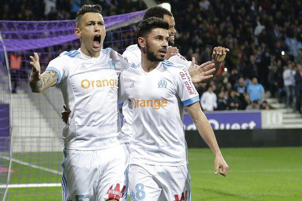 La joie de Lucas Ocampos lors de l'ouverture du score à la 10ème minute de jeu au Stadium face à Toulouse