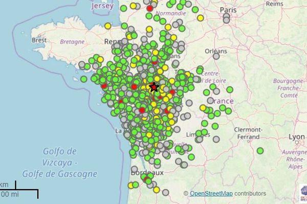 Carte des réactions au séisme du 21 juin 2019 dans le Grand Ouest