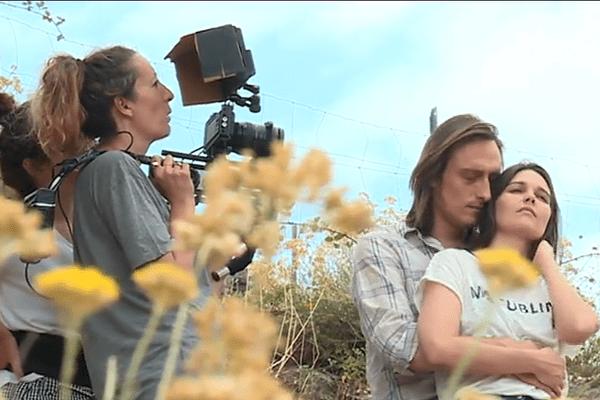 Lavinie Boffy sur le tournage de La vie ou la pluie