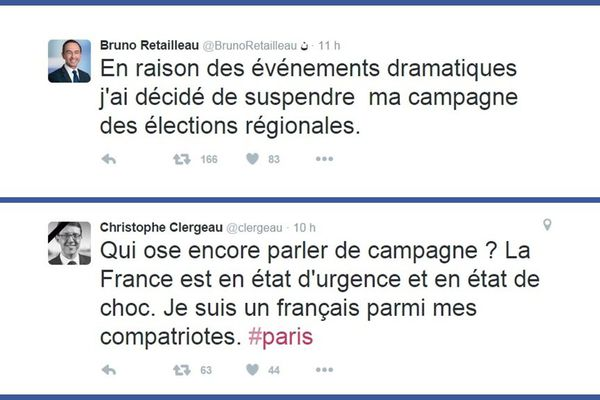 Bruno Retailleau (LR) tout comme Christophe Clergeau (PS), aussitôt les attentats connus à Paris, ont annoncé leur volonté de suspendre leurs campagnes électorales pour l'élection régionale dans les Pays de la Loire