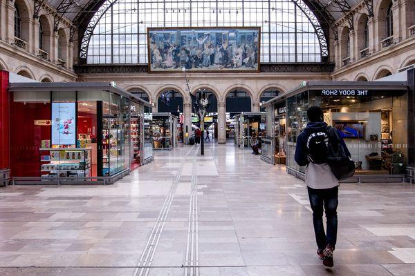 La grève des contrôleurs et contrôleuses dans les TGV a lieu sur l'axe Paris-Est, qui débute gare de l'Est, à Paris (Île-de-France).