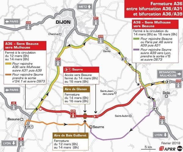 Les fermetures de l'A36 s'effectueront entre le 12 et le 16 mars