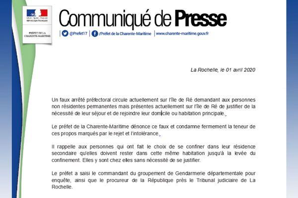 Communiqué de presse de la Préfecture de la Charente-Maritime