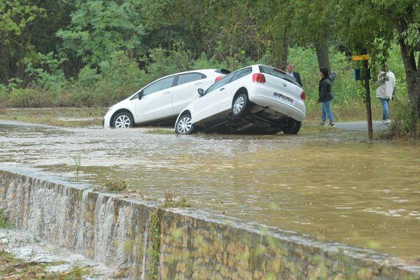 Aubais (Gard) - les dégâts après l'alerte rouge météo aux orages et la vigilance pluie-inondation - 14 septembre 2021.