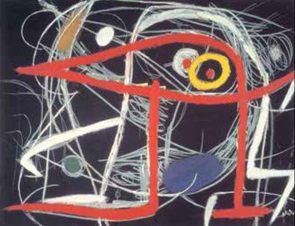 Joan Miró Femme, oiseaux (1976 /Pastel, gouache et huile sur carton 50,2 x 65,2 cm) Collection Centre Pompidou, Paris
