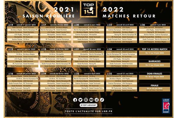 Stade Rochelais : calendrier de la saison 2021/2022 de TOP 14 - matches retour