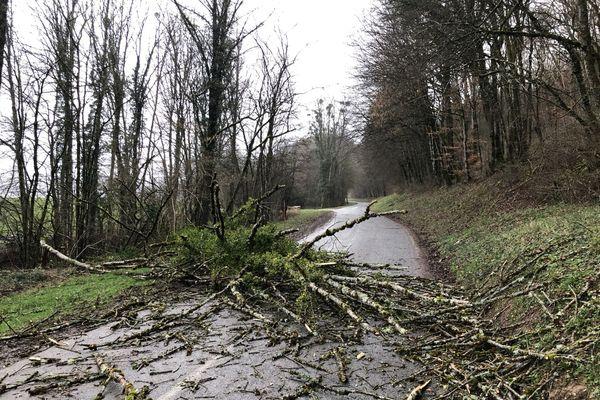 La RD 103 dans le Doubs fermée à la circulation entre Cléron et Amondans suite à la tempête Ciara