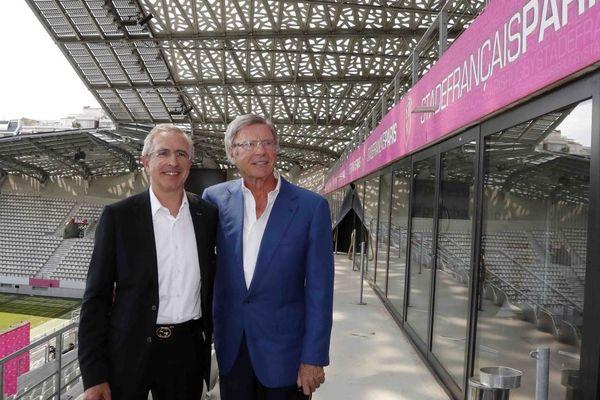 Hubert Patricot aux côtés de Hans-Peter Wild, milliardaire suisse et propriétaire du Stade Français, à l'été 2017.