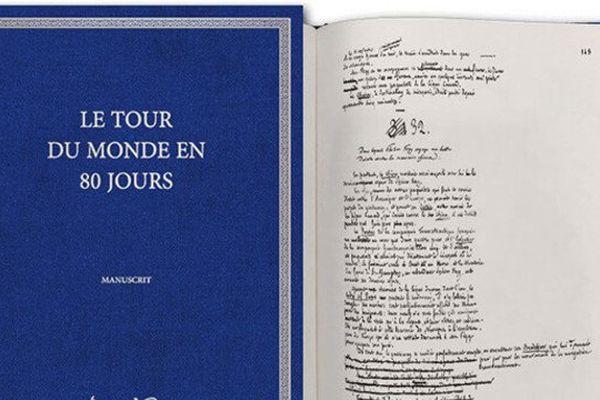 """Manuscrit de Jules Verne """"Le Tour du Monde en  80 jours"""", édition des Saints Pères"""