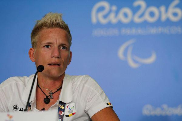 Marieke Vervoort en conférence de presse à l'occasion des Jeux paralympiques de Rio, le 16 septembre 2016.