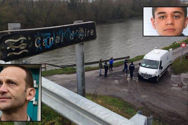 Les enquêteurs au travail près du canal d'Aire, ce jeudi 3 mars 2016. En médaillon, Antoine, 15 ans et son beau-père.