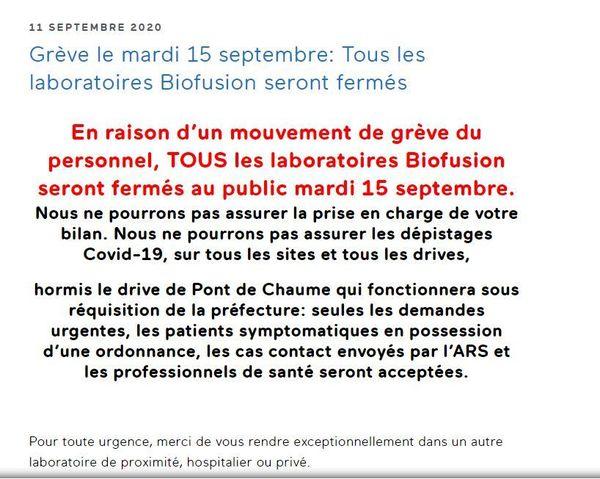 Copie de la page d'accueil de Biofusion.