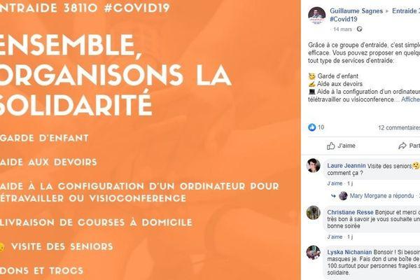 "La page d'entraide ""Entraide 38110 #Covid19""."