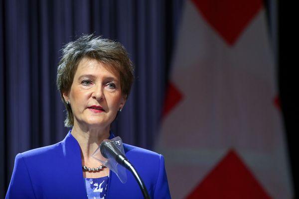 La présidente suisse Simonetta Sommaruga le 4 mai 2020 à Berne.