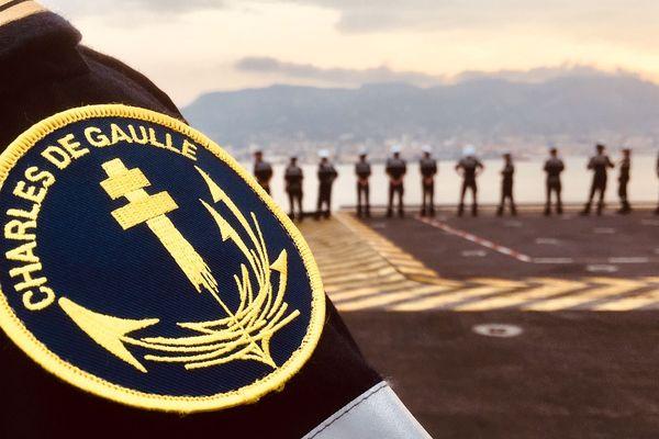 Sur le porte-avions français Charles de Gaulle.