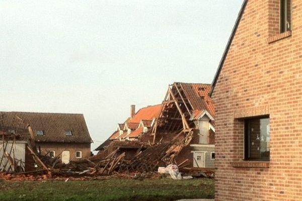 A Bailleul, les dégâts de la tornade du mois d'octobre.