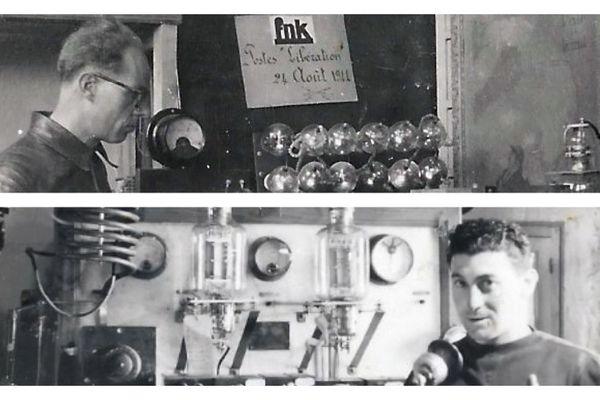 François-Joseph Terrusse (photo du haut) et Marcel Jourdan (photo du bas) remontent un poste émetteur-récepteur avec des pièces détachées provenant du matériel caché pendant la guerre par Albert Terrusse et ses hommes.