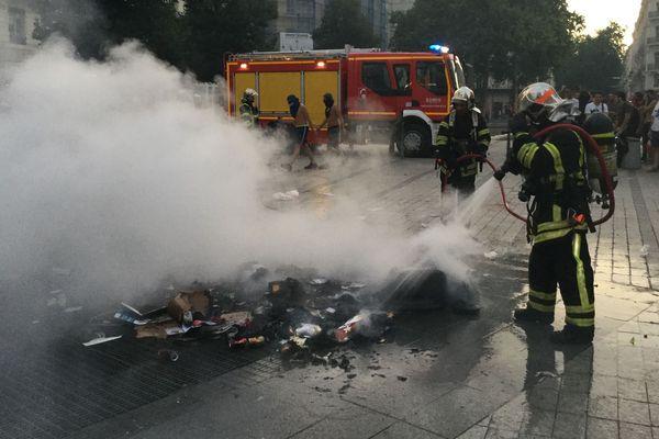 Des incidents ont éclaté à Lyon après la victoire de la France en finale de la Coupe du Monde de football, le 15 juillet.