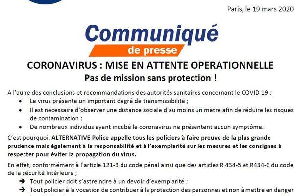 Communiqué de presse d'Alternative Police CFDT du 19 mars 2020 face à la crise du Coronavirus.