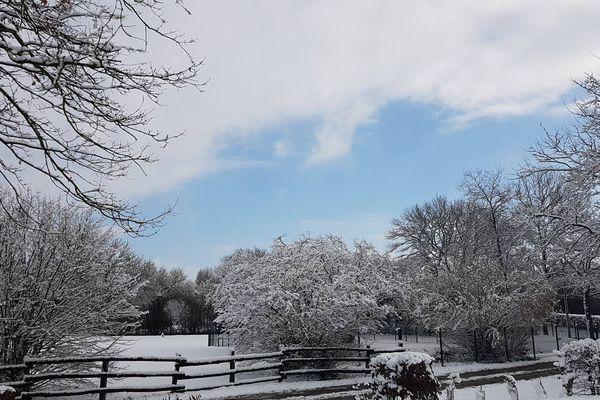La neige à Spay en Sarthe le mercredi 7  février 2018